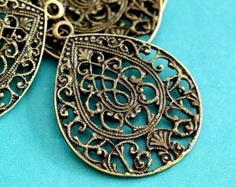 4pcs Antique Bronze Drop Filigree Pendants EA10932Y-AB