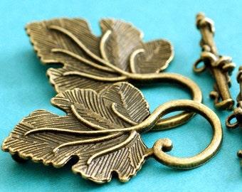 Sale Lead Free 8 Sets Antique Bronze Big Leaf Toggle MLF5108Y-NF