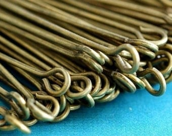 Nickel Free 200pcs 2inch Antique Brass Eye Pins 50mm