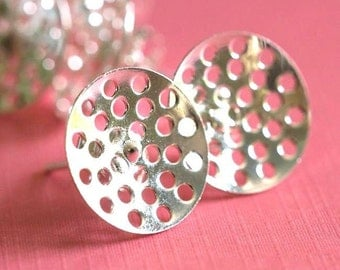 Sale 3 pairs Silver Finish Brass Ear Post With Pad 14mm