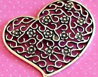 4pcs Big Antique Silver Filigree Heart Pendants EA7740Y