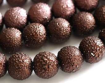 Clearance 50pcs 8mm Brown Matte Pearlized Glass Beads GPB8MM
