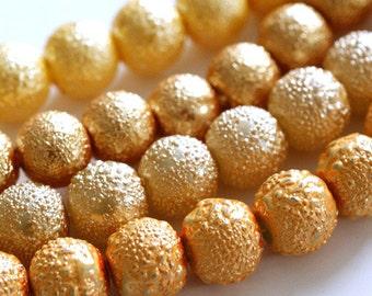 50pcs 8mm Mix Golden Matte Pearlized Glass Beads GPB8MM