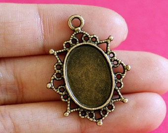 Lead Free 6pcs Antique Bronze Drop Cameo Base Settings A100590-AB-LF