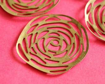 10pcs 39mm Antique Bronze Rose Filigree Wraps DY086-AB
