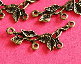Wholesale Lead free 50pcs Antique Bronze Branch Twig with Leaf Connector Pendants