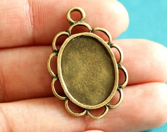 Sale Lead Free 12pcs Antique Bronze Oval Cameo Base Setting Pendants 0584-AB-LF
