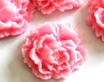 10pcs Pink Flower Cabochons 15mm