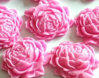 Sale 10pcs Pink Mum Peony Flower Cabochons 25mm