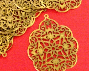 10pcs 58mm Antique Bronze Filigree Pendants A-165