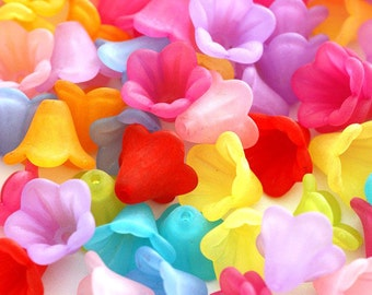 Sale 30pcs Multicolor Acrylic Frosted Flower Bead Caps Facr-5332-M