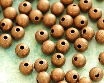 100pcs Antique Copper Stardust Round Beads 4mm
