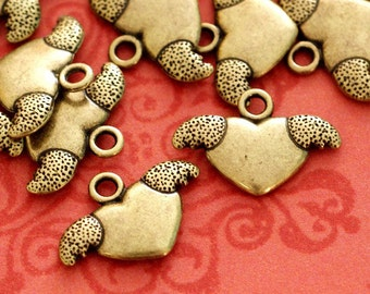 Clearance Lead Free 24pcs Antique Bronze Heart with Wing Pendants ZN42825-AB