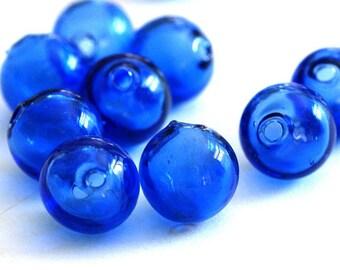 10pcs 12mm Deep Blue Blown Glass Hollow Roundelles