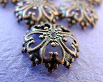 6pcs 26x7mm Antique Copper Filigree Bead Caps