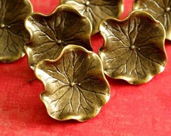 Sale 6pcs Antique Bronze Lotus Leaf Ear Posts