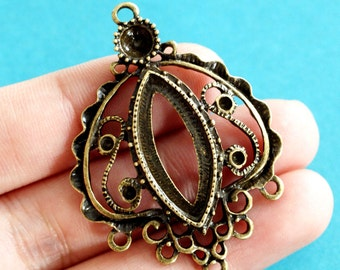 Sale Lead Free 4pcs Antique Bronze Filigree Pendants A15684-AB-FF