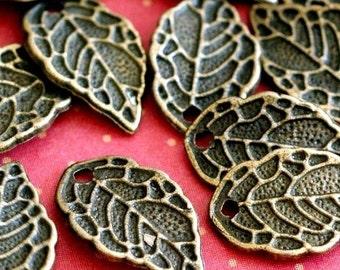 Sale 30pcs 10x16mm Antique Bronze Leaf Charms