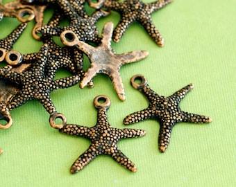 Lead Free 24pcs Antique Copper Finish Alloy Starfish Sea Star Charms