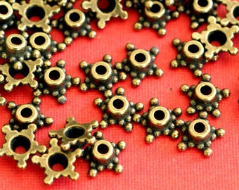 Lead Free 48pcs Antique Bronze Flower Bead Caps MLF0662Y-NF