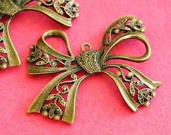 Sale Lead Free 4pcs Antique Bronze Big Bowknot Pendants PALLOY-B899-AB
