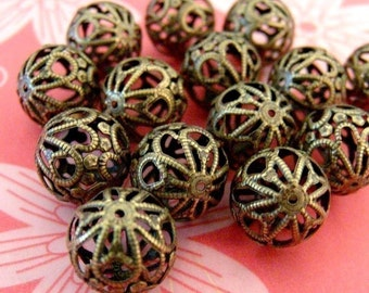 10pcs 18mm Antique Bronze Filigree Beads E064Y-AB