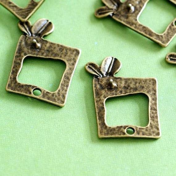 Clearance 10pcs Antique Bronze Bud In Rectangle Pendants EA10967Y-AB
