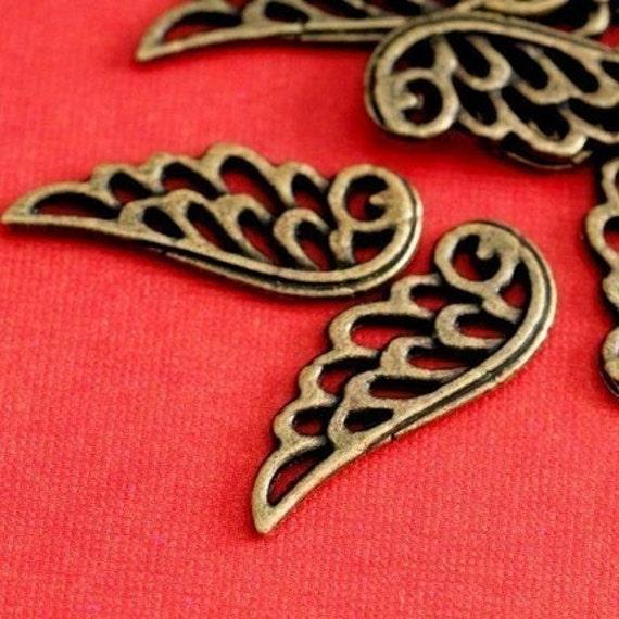 Lead Free 24pcs Antiqued Bronze Angel Wing Charm Pendants MLF10839Y-NF