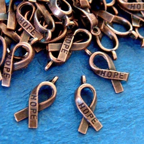 Buy One Get One Free -  24pcs Antique Copper Hope Ribbon Charms- Lead  and nickel FREE RLF5104Y-NF