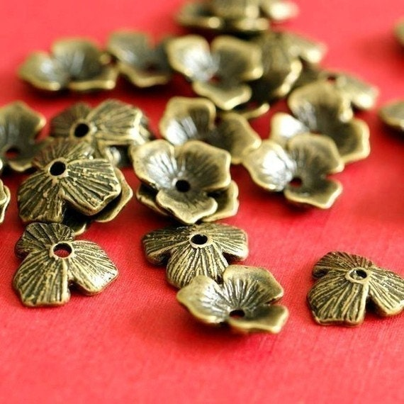 24pcs Antique Bronze Flower Bead Caps EA11600Y-AB