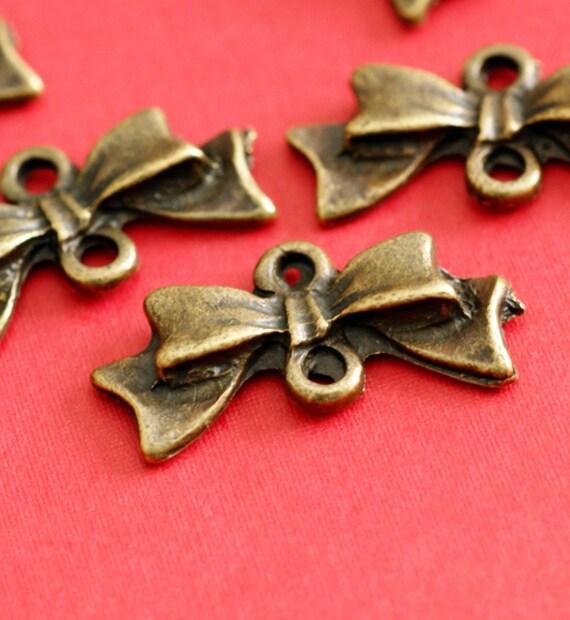 Sale Nickel Free 12pcs Antique Bronze Bowknot Connecters EA11930Y-AB