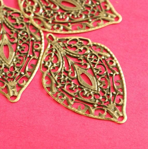 20pcs 56mm Antique Bronze Filigree Leaf Pendants