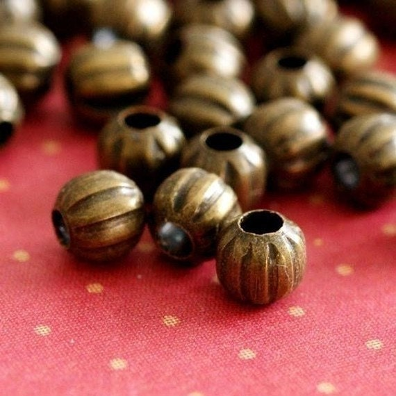 500pcs Antique Brass Watermelon Round Spacer Beads 4mm E185Y-AB
