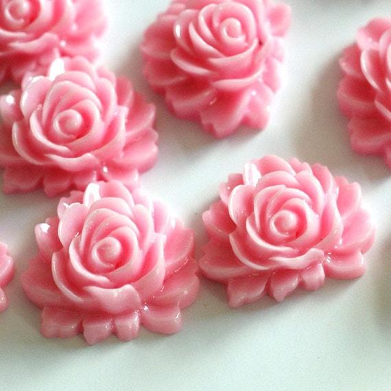 Wholesale 40pcs Pink Rose Flower Cabochons 16mm