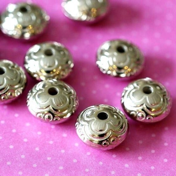 30pcs Antique Silver Acrylic Flat Rounde Beads 11mm BA164Y