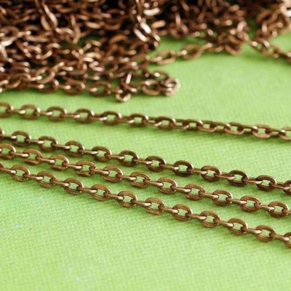 10 Feet Antique Copper Cross Chains 002-R