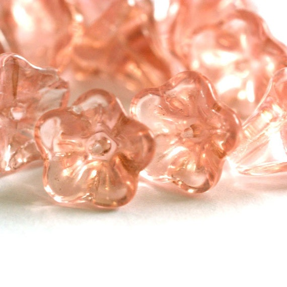 Sale 20pcs Morning Glory Clear Salmon Glass Beads 12x10mm