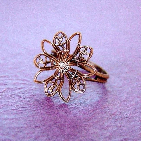 2pcs BRASS Adjustable Flower Ring Base - Nickel Free JE442-AB
