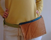 Caramel Brown Leather Pouch - Belt Slot