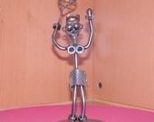 Tennis Girl Handmade Metal Sculpture - Whimsical