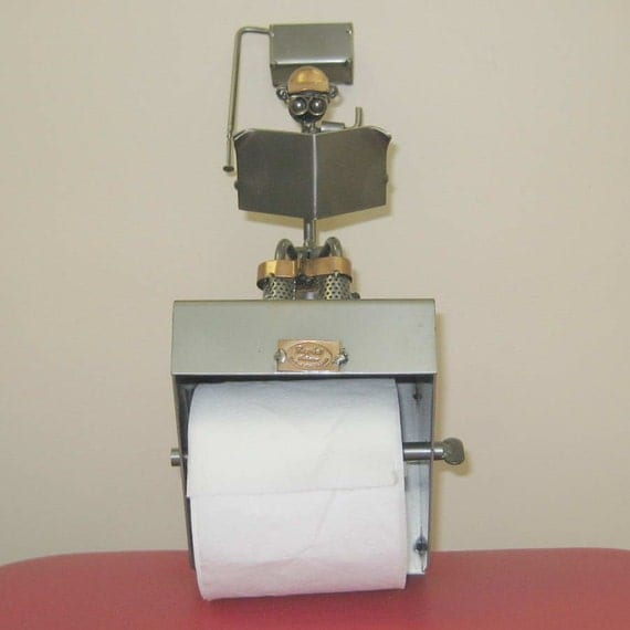 Toilet paper holder man reading newspaper funny reserved Funny toilet paper holders