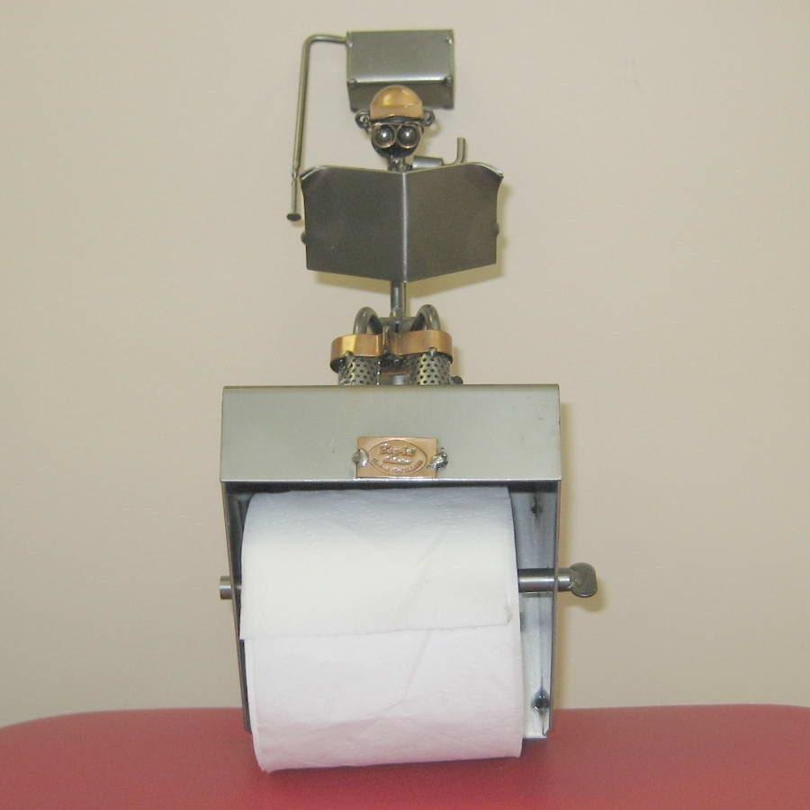 Toilet Paper Holder Man Reading Newspaper Funny Reserved