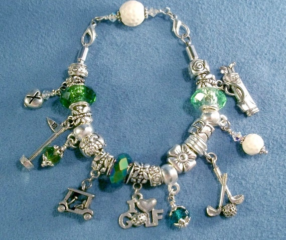 items similar to golf theme charm bracelet in pandora