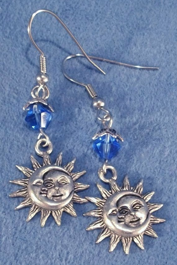 sun and moon celestial earrings swarovski by debstreasures