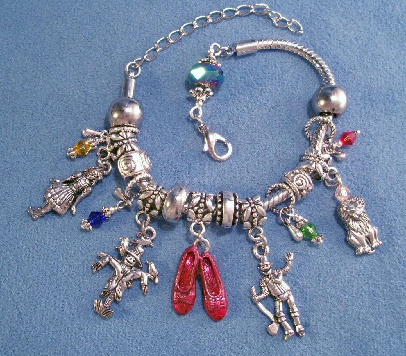 Slide Charms For Bracelets: Wizard Of Oz Starter Charm Bracelet Pandora Style Slide On
