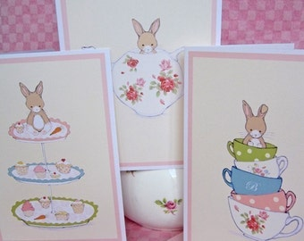 3 Notecards - Friends for Tea - Bunny Rabbits