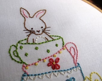 Bunny and Her Teacups Hand Embroidery PDF Pattern - Instant Download