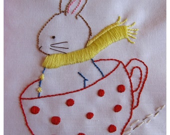 Hand  Embroidery PDF Pattern - Happiness is a Cup of Tea - Instant downdload