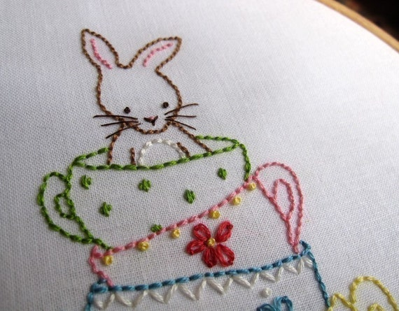 Bunny and her teacups hand embroidery pdf pattern by