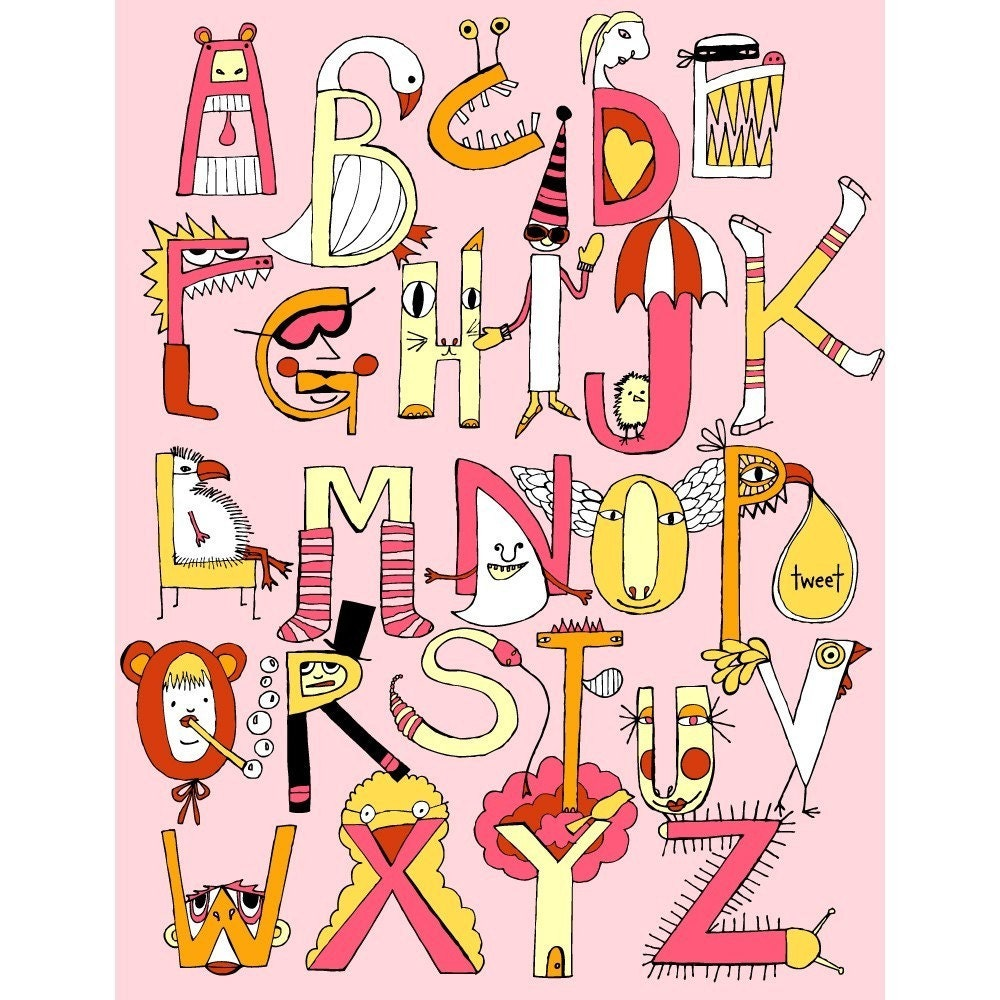 Critters And Creatures Alphabet Poster PINK Version